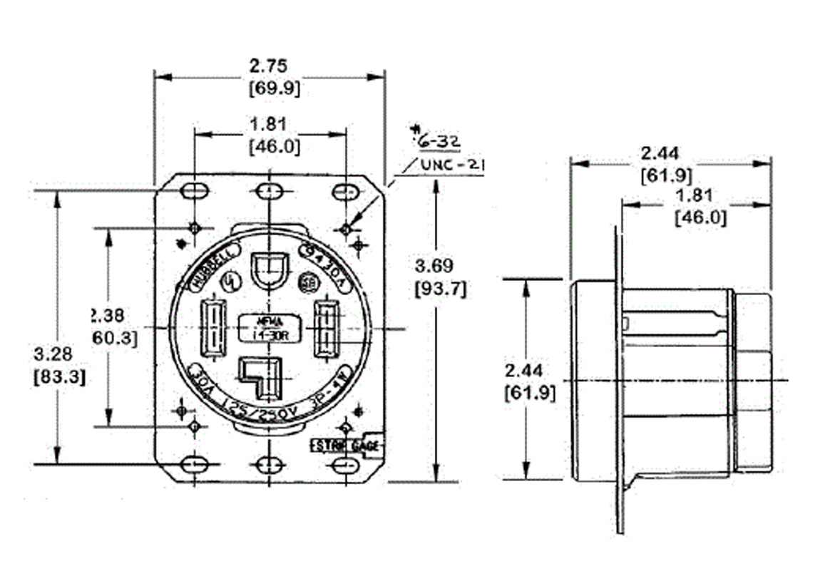 250v wiring diagram hubbell hbl9450a 3-pole 4-wire grounding 50a 125-250v 14 ... extension cord 20a 250v wiring diagram #4