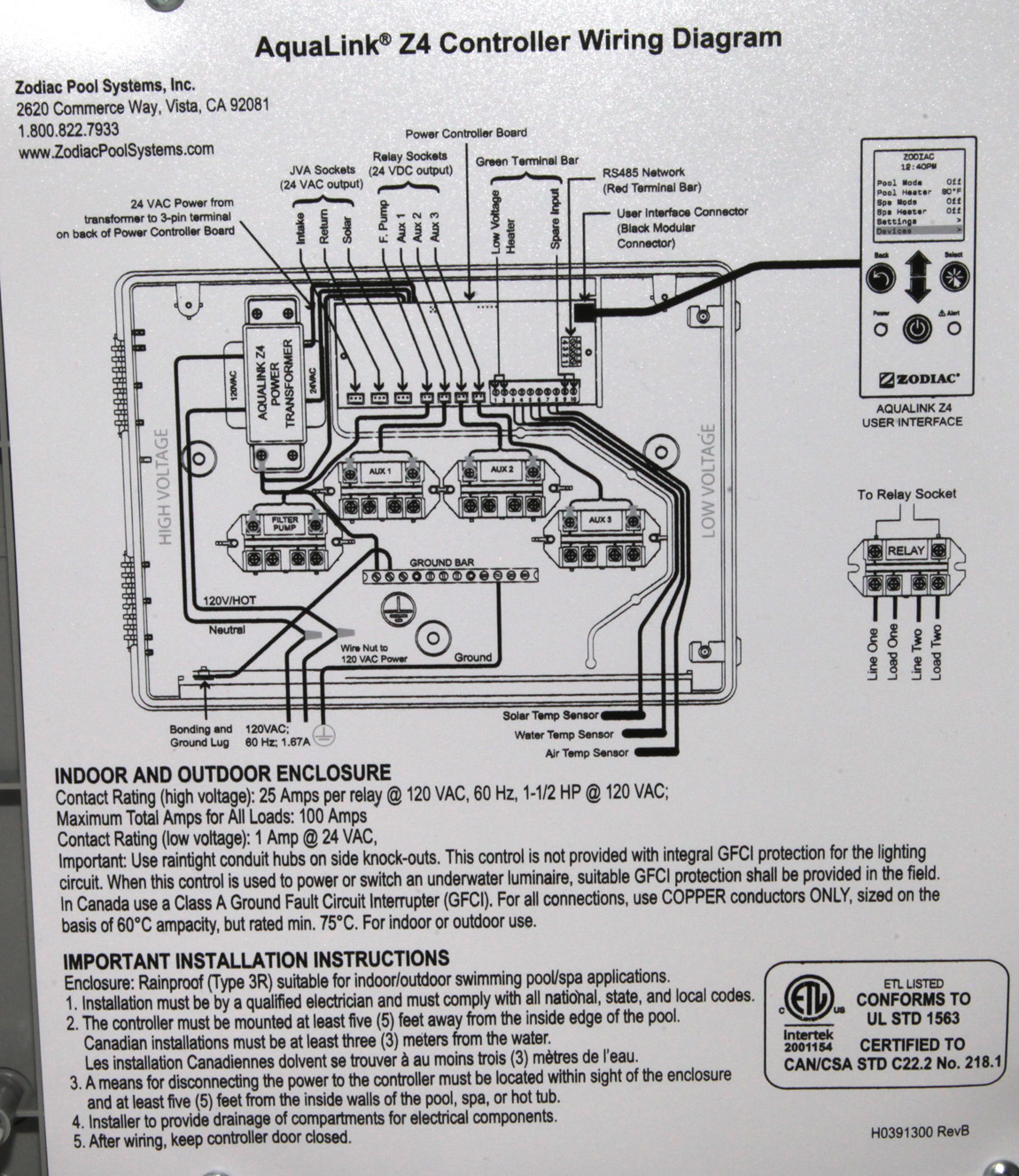 Jandy Panel Wiring Diagram Anything Diagrams Pool Control New Zodiac Aqualink Z4 Spa Automation System Indoor Rh Ebay Com Electrical Sub Three Wire